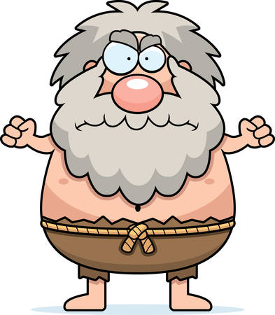 A cartoon illustration of a hermit looking angry.