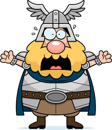 megrémült: A cartoon illustration of Thor looking scared.