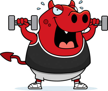 A cartoon illustration of a devil lifting dumbbell weights. Reklamní fotografie - 44515918