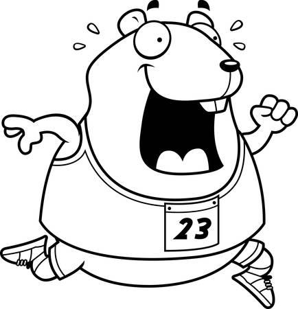 A happy cartoon hamster running in a race. Illustration