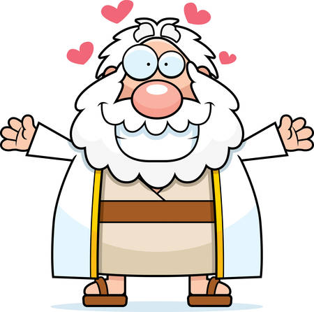 moses: A cartoon illustration of Moses ready to give a hug. Illustration