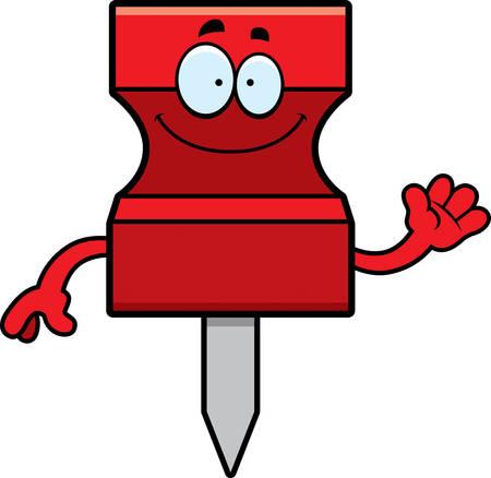 tack: A cartoon illustration of a pushpin waving.