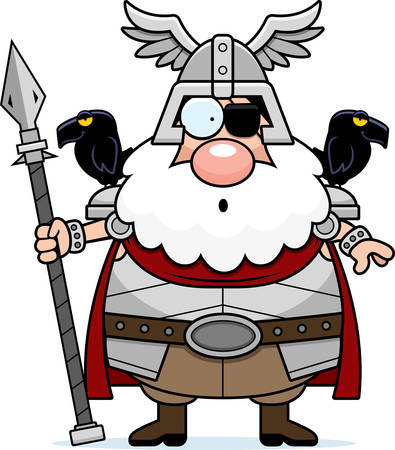 A cartoon illustration of Odin looking surprised. Illustration