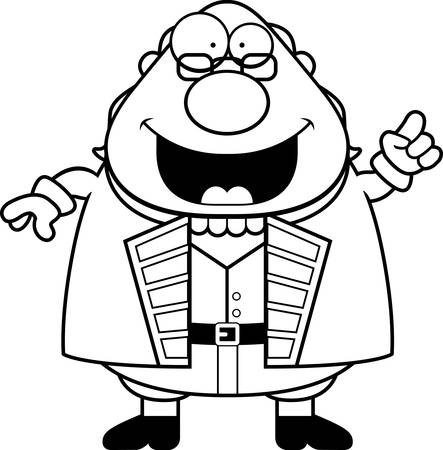 ben franklin: A cartoon illustration of Ben Franklin with an idea.
