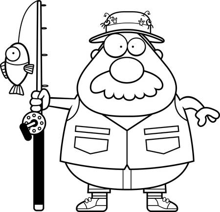 fishing pole: A cartoon illustration of a fisherman with a mustache. Illustration