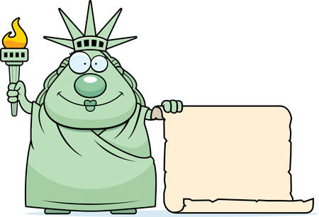 paper sculpture: A cartoon illustration of the Statue of Liberty with a sign.