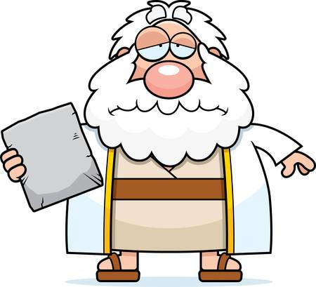 ten commandments: A cartoon illustration of Moses looking sad. Illustration