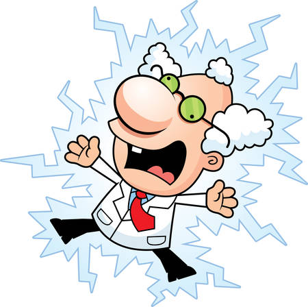 An illustration of a cartoon mad scientist being electrocuted.