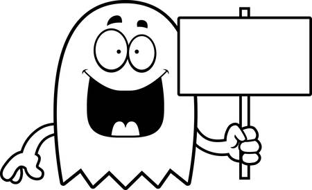 the spectre: A cartoon illustration of a ghost holding a sign.