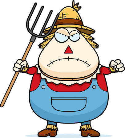 hayman: A cartoon illustration of a scarecrow looking angry.