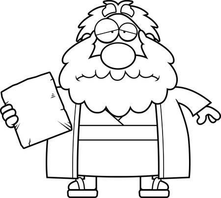 bible ten commandments: A cartoon illustration of Moses looking sad. Illustration