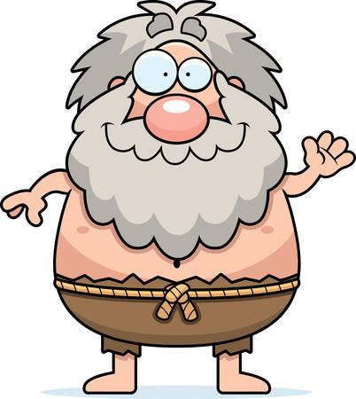hermit: A cartoon illustration of a hermit waving. Illustration