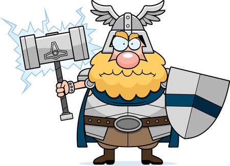 A cartoon illustration of Thor looking angry.