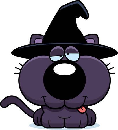goofy: A cartoon illustration of a cat in a witch hat with a goofy expression. Illustration