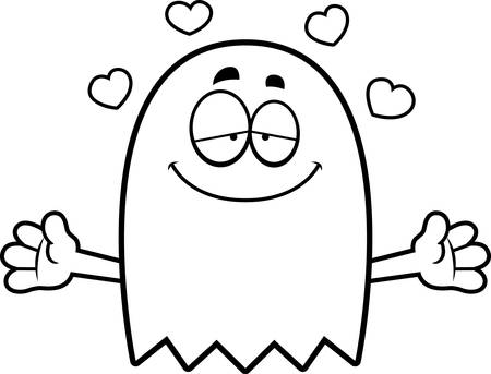 the spectre: A cartoon illustration of a ghost ready to give a hug.
