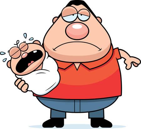 bambino che piange: Un fumetto illustrazione di un papà con un bambino che piange aria stanca.