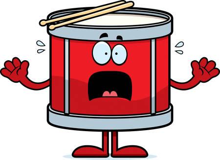 megrémült: A cartoon illustration of a drum looking scared. Illusztráció