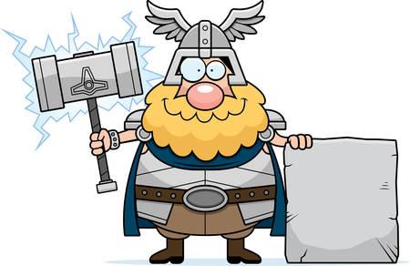 A cartoon illustration of Thor with a sign. Ilustração