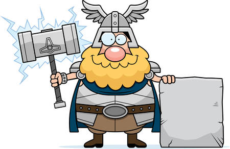 norse: A cartoon illustration of Thor with a sign. Illustration