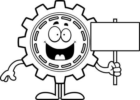 A cartoon illustration of a gear holding a sign. Illusztráció