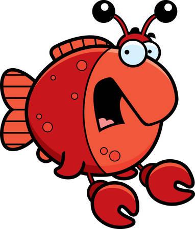두려운 찾고 게로 옷을 입고 물고기의 만화 그림. 일러스트