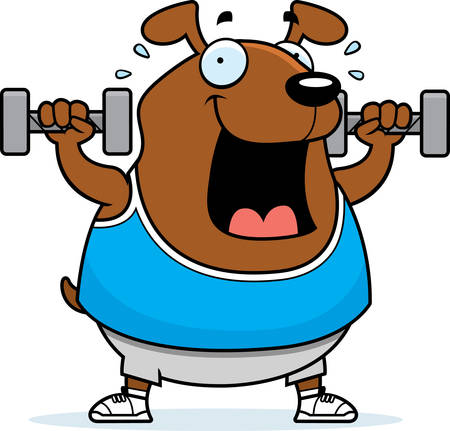 A cartoon illustration of a dog lifting dumbbell weights. Reklamní fotografie - 44514840