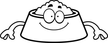 dog bowl: A cartoon illustration of a dog bowl looking happy. Illustration