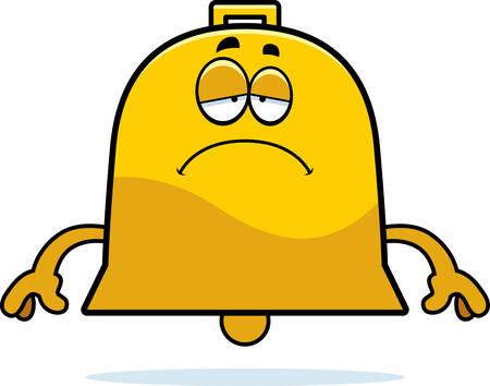 A cartoon illustration of a bell looking sad. Иллюстрация