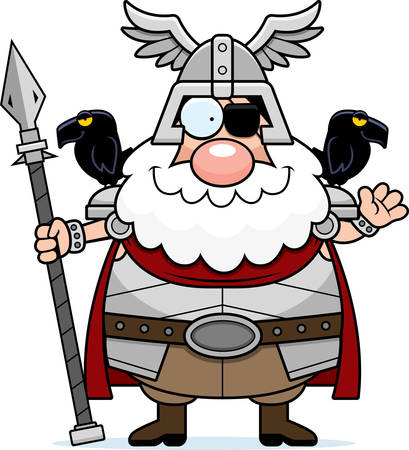 A cartoon illustration of Odin waving.