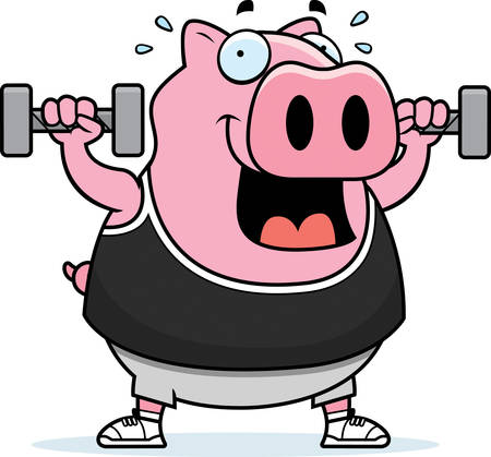 A cartoon illustration of a pig lifting dumbbell weights. Ilustrace