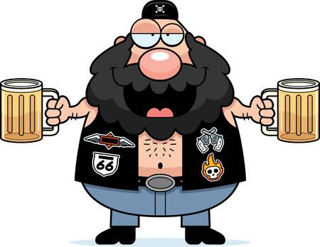 A cartoon illustration of a biker looking drunk on beer.
