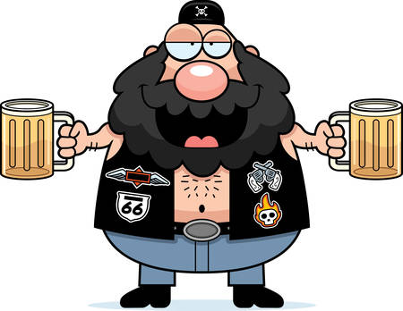A cartoon illustration of a biker looking drunk on beer.
