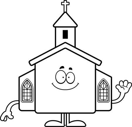 A cartoon illustration of a church waving. Çizim