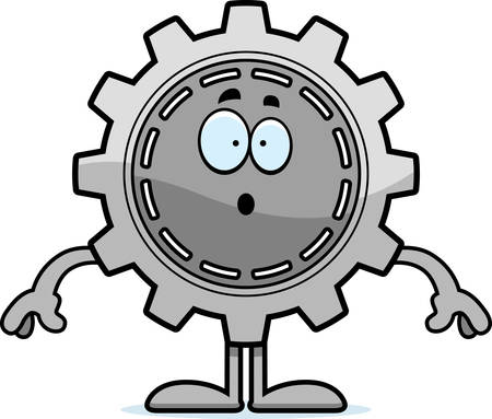 A cartoon illustration of a gear looking surprised.