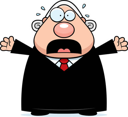 A cartoon illustration of a judge looking scared.