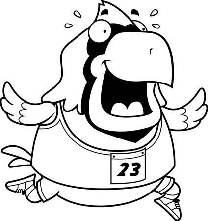 レースで実行して幸せな漫画枢機卿。