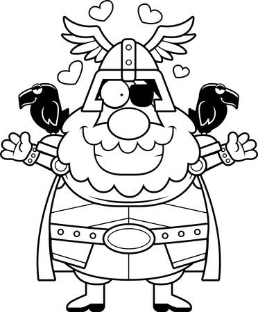 A cartoon illustration of Odin ready to give a hug.