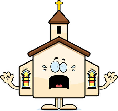 A cartoon illustration of a church looking scared.