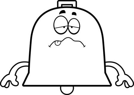 A cartoon illustration of a bell looking sick. Иллюстрация