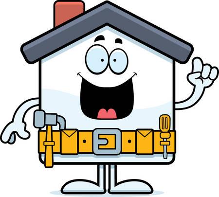 home improvement: A cartoon illustration of a home improvement house with an idea. Illustration