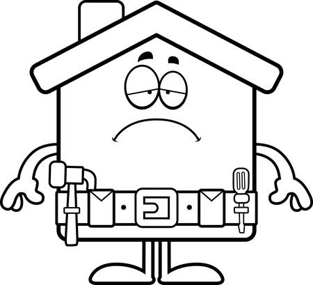 tool belt: A cartoon illustration of a home improvement house looking sad.