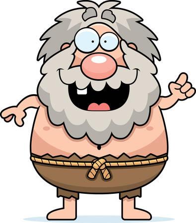 A cartoon illustration of a hermit with an idea. Illusztráció