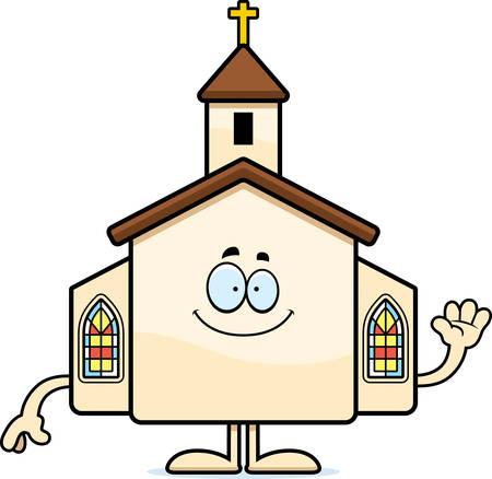 Een cartoon illustratie van een kerk zwaaien. Stock Illustratie