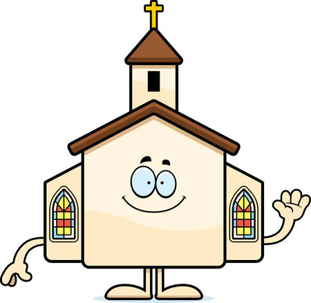 A cartoon illustration of a church waving. Illustration