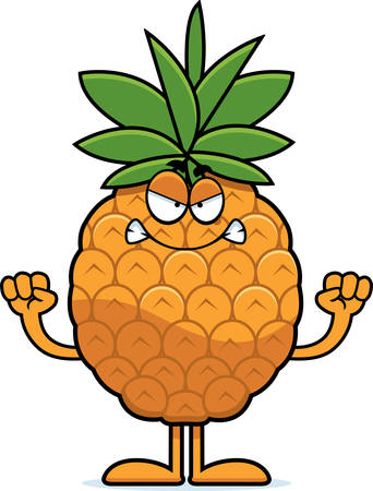 A cartoon illustration of a pineapple looking angry.