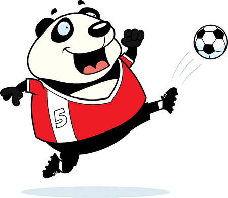 A cartoon illustration of a panda kicking a soccer ball.