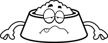nauseous: A cartoon illustration of a dog bowl looking sick.