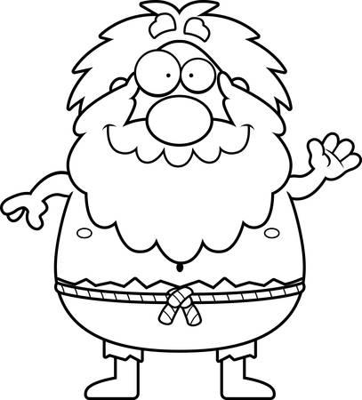 A cartoon illustration of a hermit waving. Illusztráció