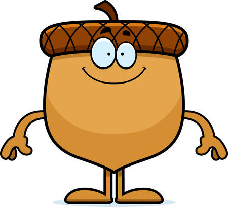 A cartoon illustration of an acorn looking happy.