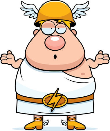 greek god: A cartoon illustration of the Greek god Hermes looking confused. Illustration